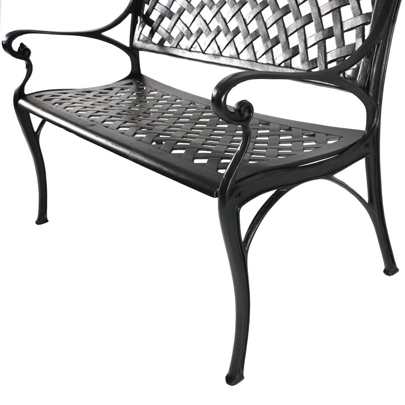 Ismenia Checkered Outdoor Cast Aluminum Patio Garden Benches With Well Known Ismenia Checkered Outdoor Cast Aluminum Patio Garden Bench (View 2 of 20)