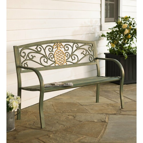 Krystal Ergonomic Metal Garden Benches With Most Recently Released Pineapple Metal Garden Bench (View 1 of 20)