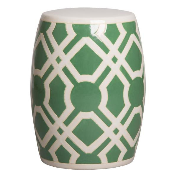 Labyrinth Meadow Green And White Ceramic Garden Stool Within Famous Ceramic Garden Stools (View 6 of 20)