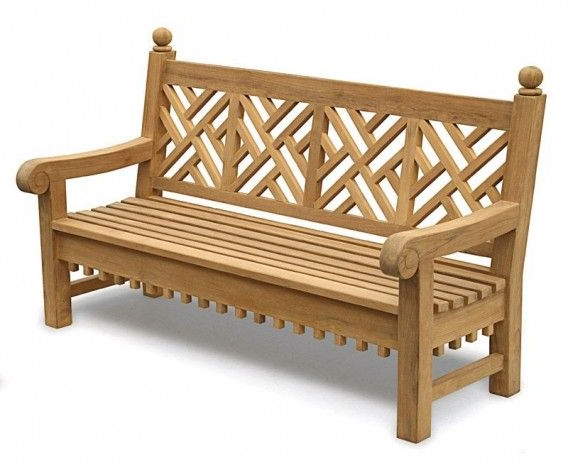 Latest Coleen Outdoor Teak Garden Benches Within Chiswick Teak 6ft Chippendale Garden Bench (View 12 of 20)