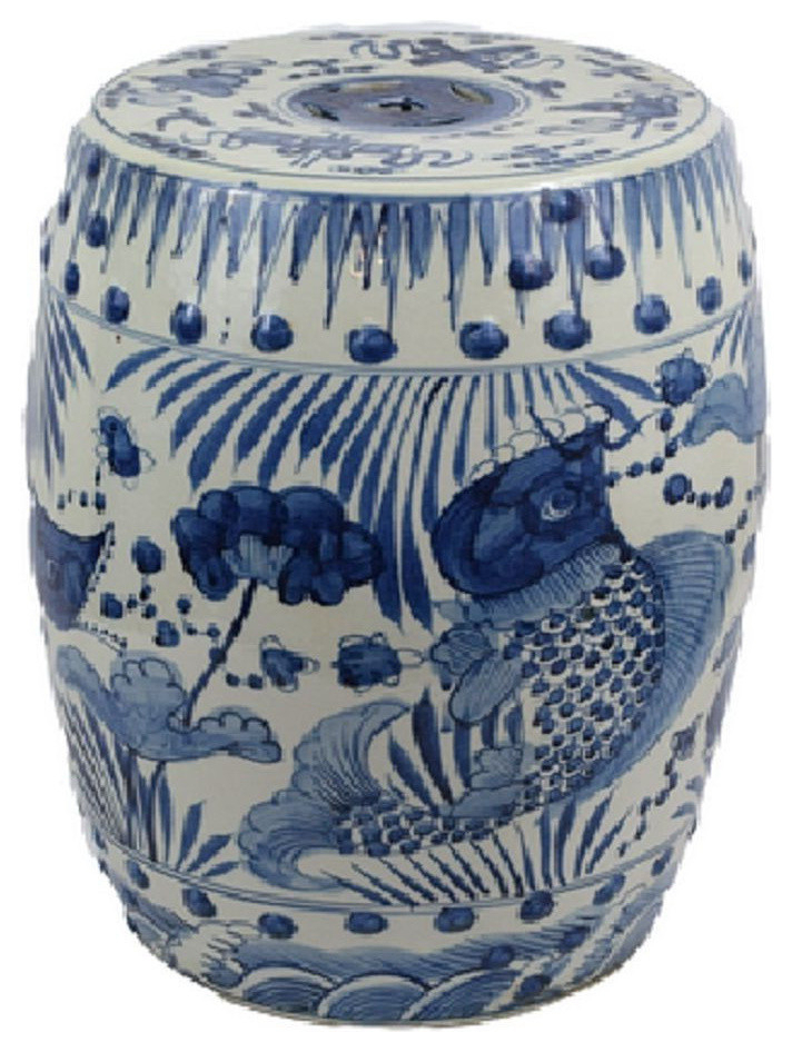 "Latest Williar Cherry Blossom Ceramic Garden Stools Throughout Blue And White Porcelain Fish Motif Garden Stool 19"" (Gallery 6 of 20)"