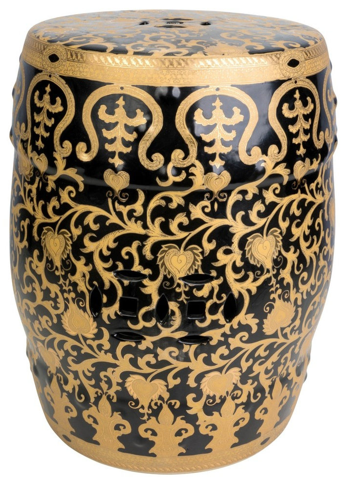 "Latest Williar Cherry Blossom Ceramic Garden Stools Within Black And Gold Tapestry Porcelain Garden Stool, 18"" (View 10 of 20)"