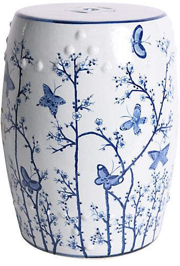 Maci Tropical Birds Garden Stools Pertaining To Preferred Butterfly Garden Stool, Blue/white (View 14 of 20)