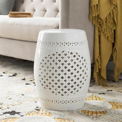 Maggie Modern Classic White Glazed Ceramic Garden Stool In Throughout Trendy Oakside Ceramic Garden Stools (View 14 of 20)