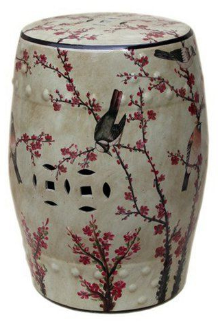 Magpie Cherry Garden Stool, Beige/multi Now: $ (View 4 of 20)