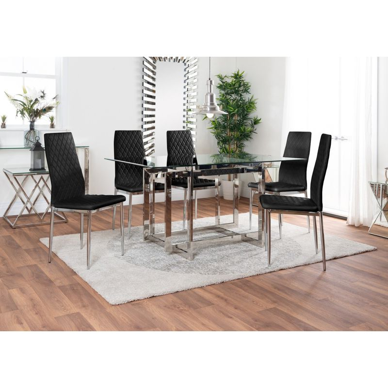 Messina Glass Chrome Metal Dining Table And 6 Modern Milan Chairs Set With Well Known Messina Garden Stools Set (set Of 2) (View 10 of 20)
