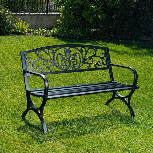 Metal Garden Intended For Well Known Ismenia Checkered Outdoor Cast Aluminum Patio Garden Benches (View 7 of 20)