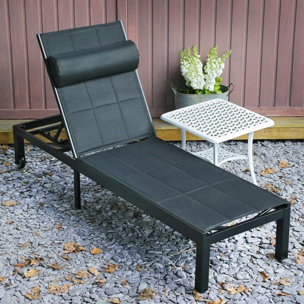 Michelle Metal Garden Benches With Favorite Michelle Black 200cm Aluminium & Padded Mesh Fabric Garden Lounger (View 4 of 20)