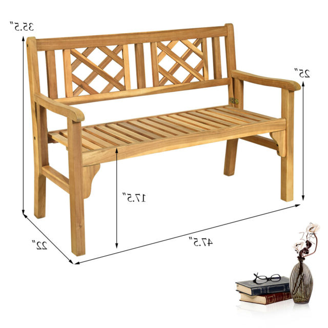 Most Current Hampstead Heath Teak Garden Benches In Patio Outdoor Acacia Wood Bench Folding Loveseat Chair Garden Furniture Teak (View 11 of 20)