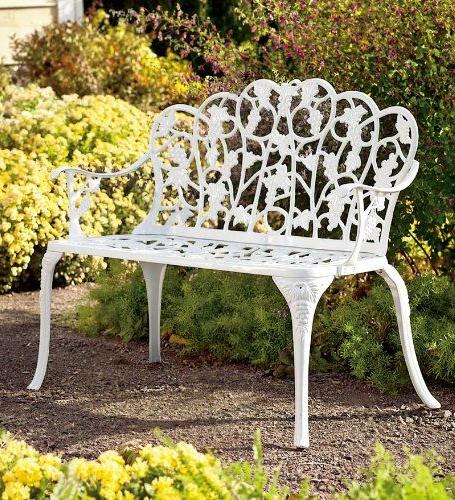 Most Popular Montezuma Cast Aluminum Garden Benches With Regard To Powder Coated Aluminum Grape Vine Vintage Style Garden Bench (View 6 of 20)