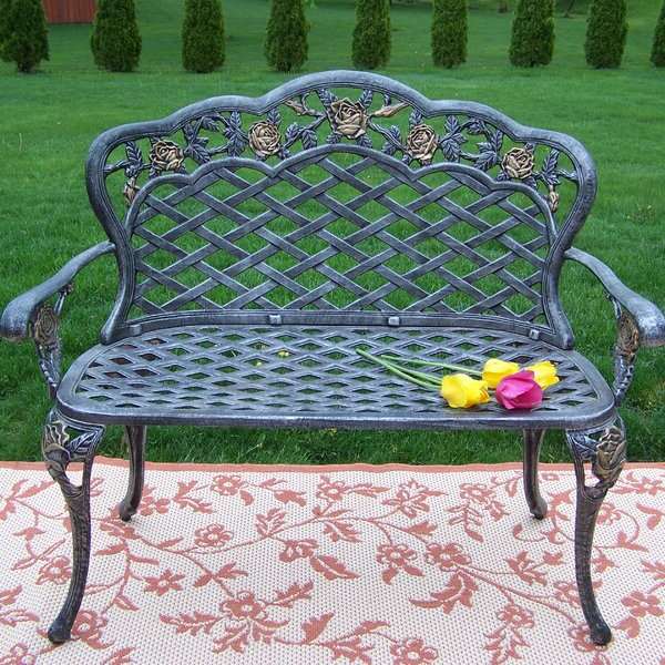 Most Popular Zev Blue Fish Metal Garden Benches Throughout Rose Garden Bench (View 7 of 20)