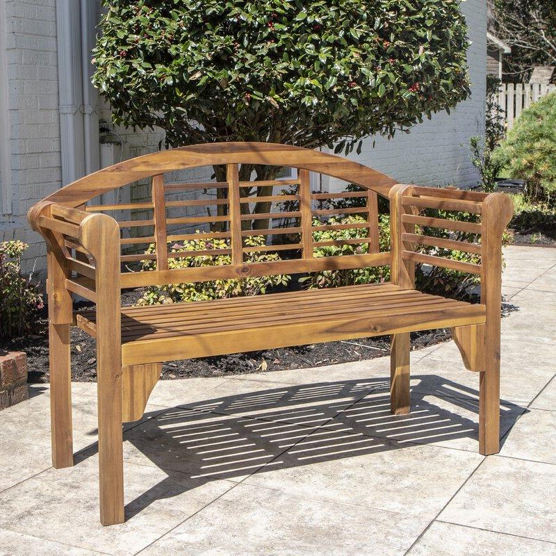 Most Recent Coleen Outdoor Teak Garden Benches With Regard To Mae Wood Garden Bench (View 11 of 20)