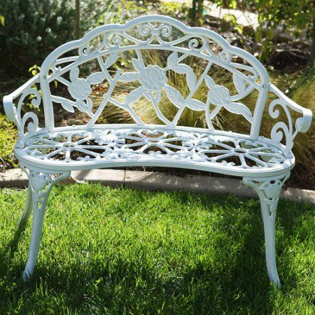 Most Recently Released Belleze Antique Designed Rose Style Outdoor Patio Park For Montezuma Cast Aluminum Garden Benches (View 13 of 20)