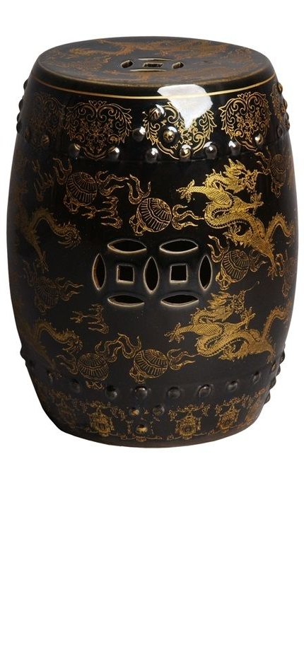 Most Recently Released Dragon Garden Stools With Garden Stools, Side Tables, Chinese Black & Gold Dragon (View 16 of 20)