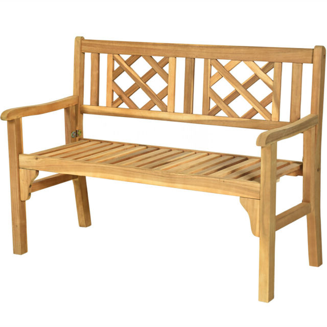 Most Recently Released Hampstead Teak Garden Benches For Patio Outdoor Acacia Wood Bench Folding Loveseat Chair Garden Furniture Teak (View 10 of 20)