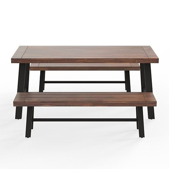 Most Recently Released Outdoor Table And Bench Set , Solid Wood, Walnut Inside Walnut Solid Wood Garden Benches (View 8 of 20)