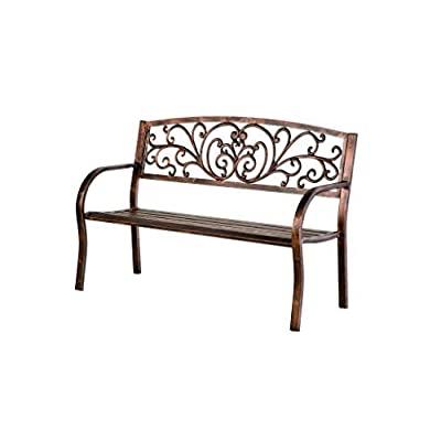 Most Recently Released Plow & Hearth 37320 Blooming Metal Garden Bench, Bronze Regarding Blooming Iron Garden Benches (View 16 of 20)
