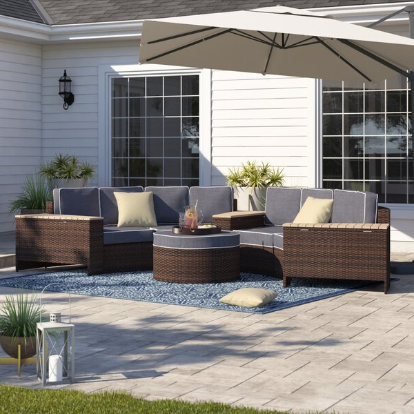 Newest Bermuda 8 Piece Rattan Sectional Seating Group With Cushions Regarding Beckemeyer Ceramic Garden Stools (View 15 of 20)