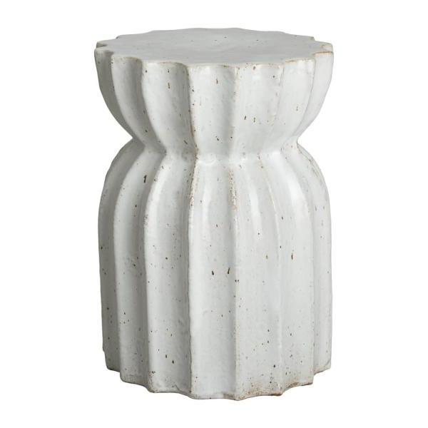 Newest Ceramic Garden Stools Pertaining To Lotus Distressed White Ceramic Garden Stool (View 9 of 20)
