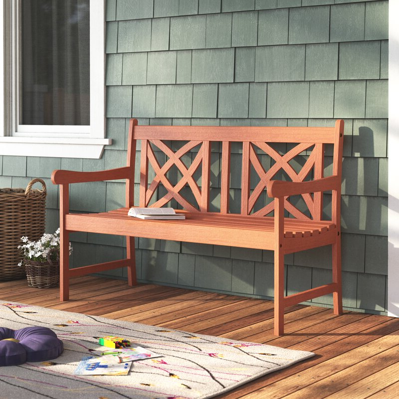 Newest Maliyah Wooden Garden Bench Within Manchester Solid Wood Garden Benches (View 12 of 20)