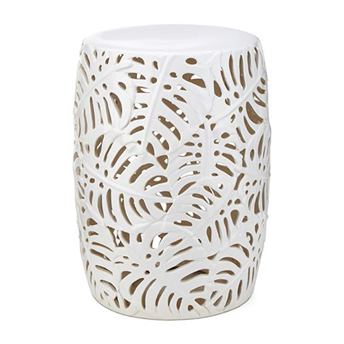Newest Palm Leaf White Cutwork Garden Stool (View 14 of 20)