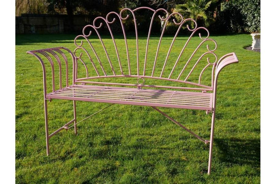 Newest Pink Metal Flamingo Garden Bench (View 4 of 20)