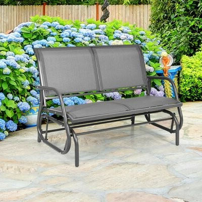 Newest Sibbi Glider Benches Throughout Whitland Steel Glider Bench (View 7 of 20)