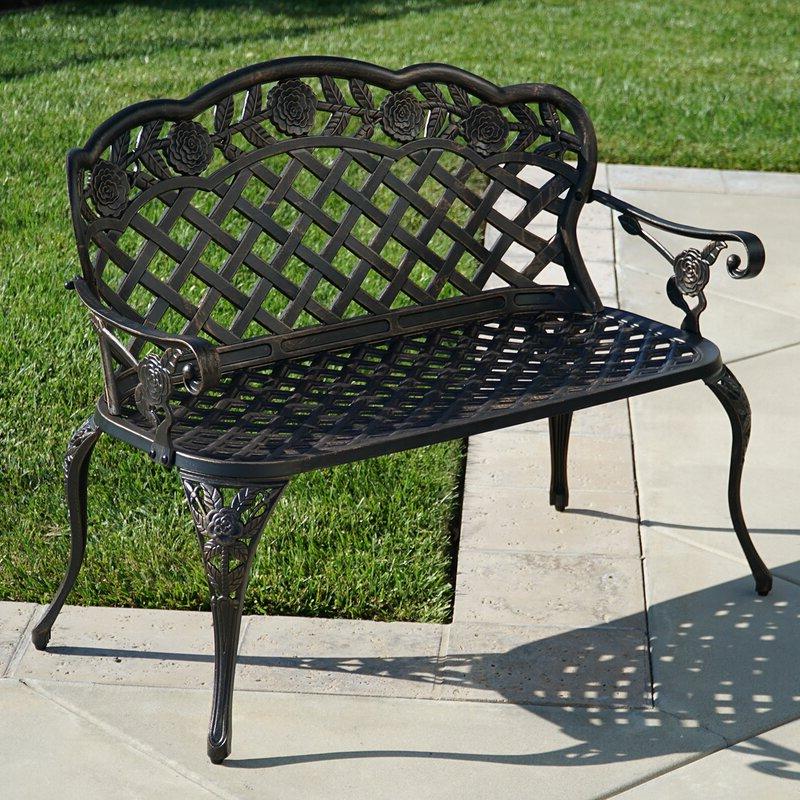 Newfield Cast Aluminum Garden Bench For Well Known Montezuma Cast Aluminum Garden Benches (View 3 of 20)
