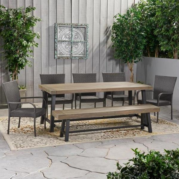 Noble House Brecken Sandblast Grey 6 Piece Wood And Grey Throughout 2020 Brecken Teak Garden Benches (View 17 of 20)