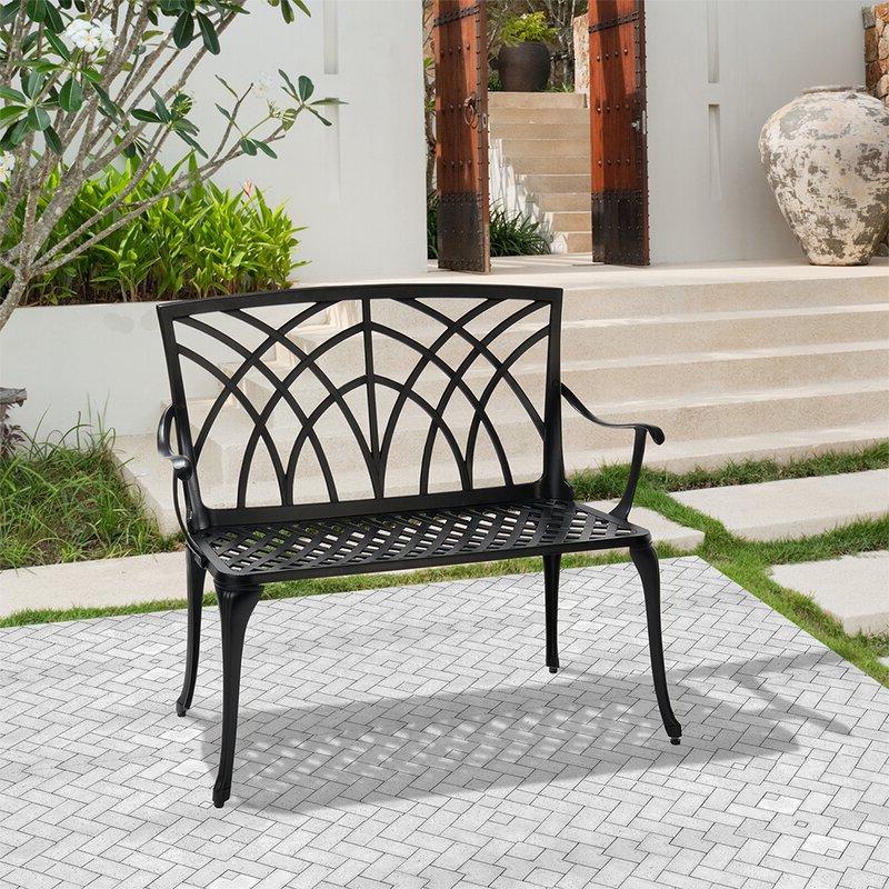 Norrie Metal Garden Benches In Trendy Norrie Metal Garden Bench (View 3 of 20)