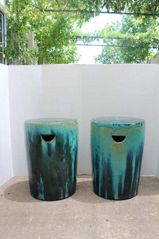 Oakside Ceramic Garden Stools Throughout 2020 Green And Blue Dipped Glazed Ceramic Garden Stools (View 16 of 20)