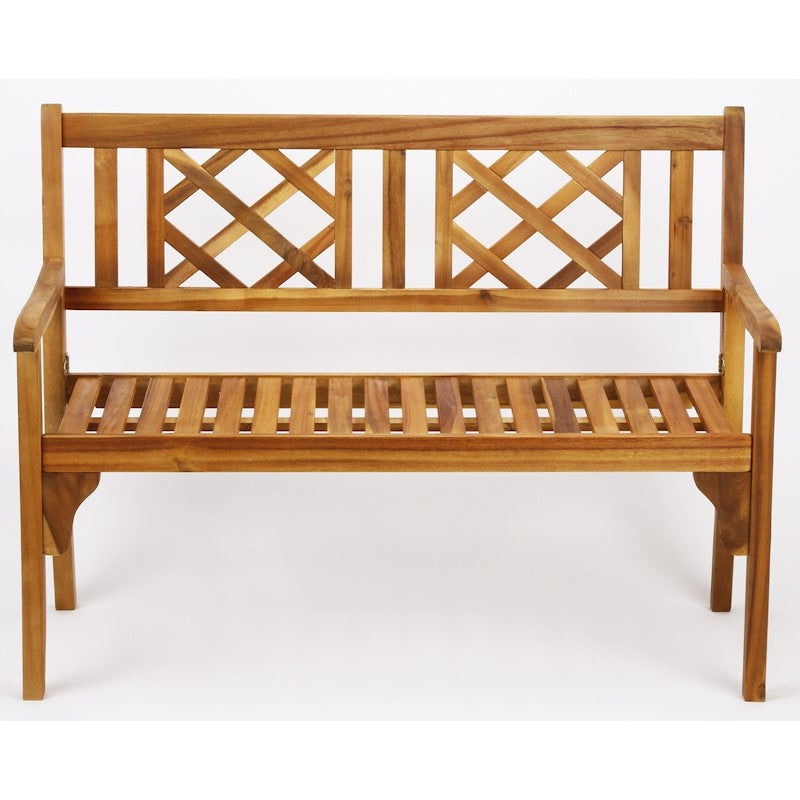 Outdoor Hardwood Timber Garden Bench 2 Seater Natural Foldable No Assembly Required With Most Up To Date Manchester Solid Wood Garden Benches (View 18 of 20)