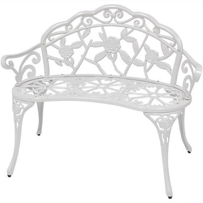 Popular Alvah Slatted Cast Iron And Tubular Steel Garden Benches Throughout Encanto Rose Cast Iron And Cast Aluminum Garden Bench (View 11 of 20)