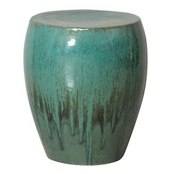 Popular Jadiel Ceramic Garden Stools Inside Teal Green Frost Coastal Beach Simple Ceramic Garden Seat (View 20 of 20)