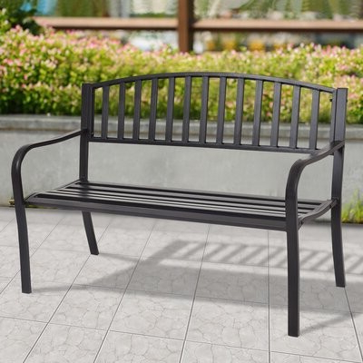 Preferred Bjrnar Patio Steel Park Bench Within Alvah Slatted Cast Iron And Tubular Steel Garden Benches (View 12 of 20)