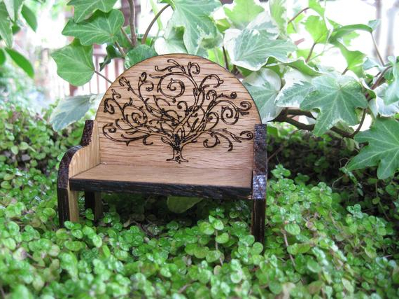 Preferred Fairy Garden Bench With Tree Of Life Emblem Miniature Fairy House Cottage Door Within Tree Of Life Iron Garden Benches (View 16 of 20)
