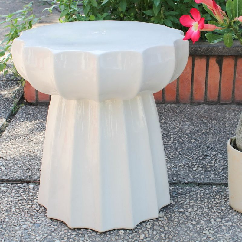 Preferred International Caravan Opg 066 Aw Round Scalloped Ceramic With Regard To Oakside Ceramic Garden Stools (View 11 of 20)