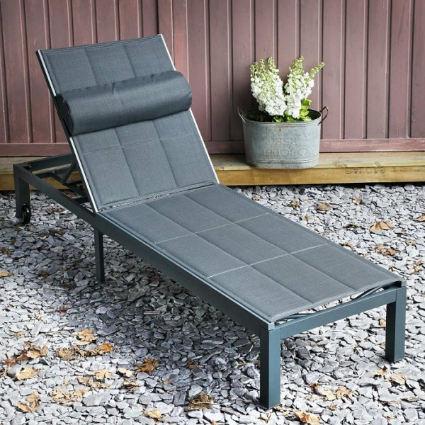 Preferred Michelle Metal Garden Benches Throughout Michelle Grey 200cm Aluminium & Padded Mesh Fabric Garden Lounger (View 6 of 20)