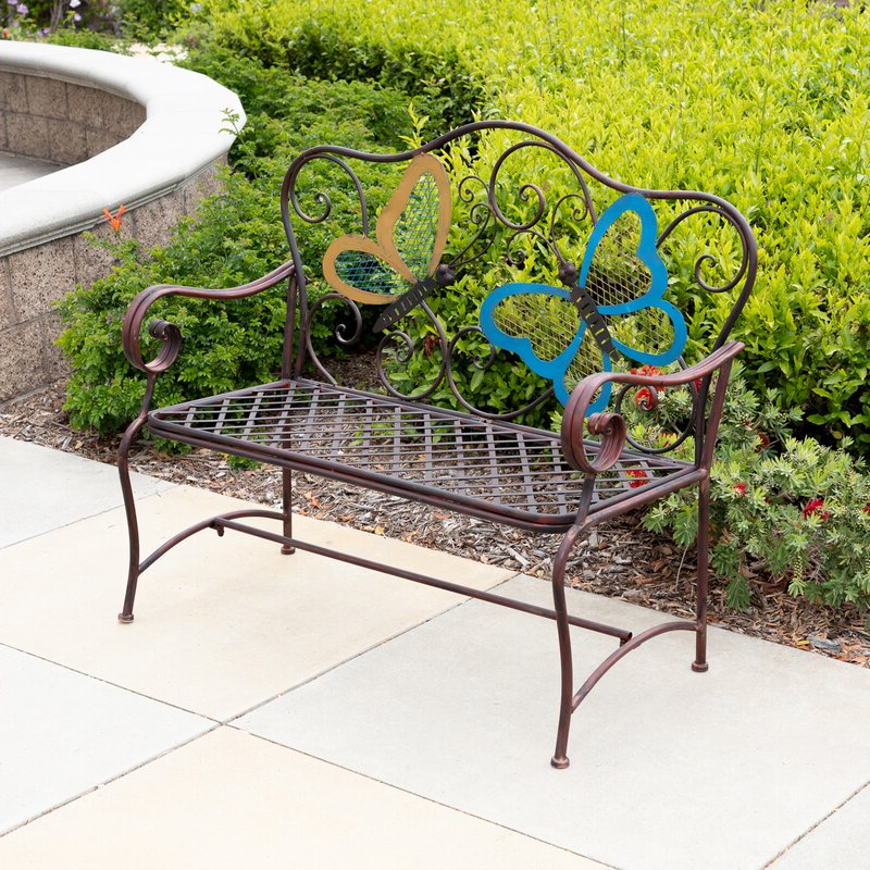 Recent Caryn Colored Butterflies Metal Garden Benches Throughout Caryn Colored Butterflies Metal Garden Bench (View 6 of 20)