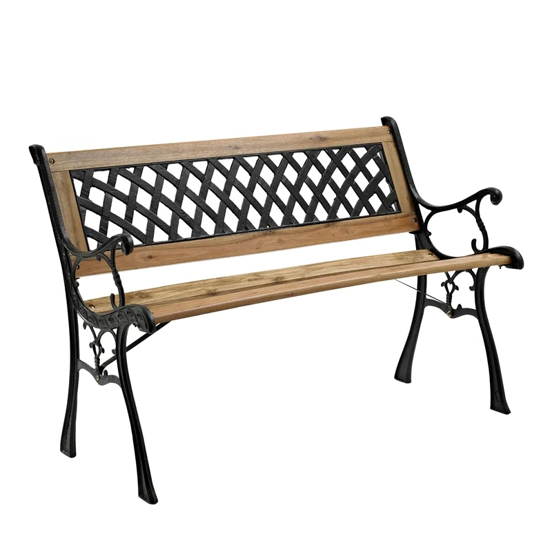 Rustic Bench Regarding Newest Alvah Slatted Cast Iron And Tubular Steel Garden Benches (View 17 of 20)