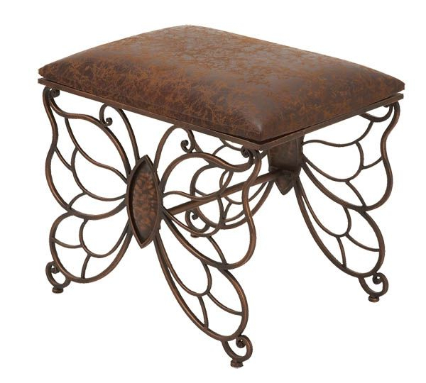 Scrolling Iron Metal And Leatherette Butterfly Bench Ottoman Inside Most Recent Caryn Colored Butterflies Metal Garden Benches (View 15 of 20)