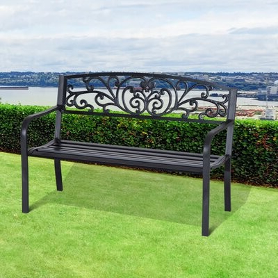 Strasburg Blossoming Decorative Iron Garden Bench Pertaining To 2020 Caryn Colored Butterflies Metal Garden Benches (View 17 of 20)