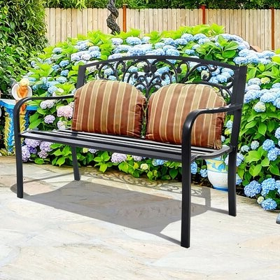 Strasburg Blossoming Decorative Iron Garden Benches Intended For Most Up To Date Aaliyah Mae Patio Park Bench (Gallery 10 of 20)