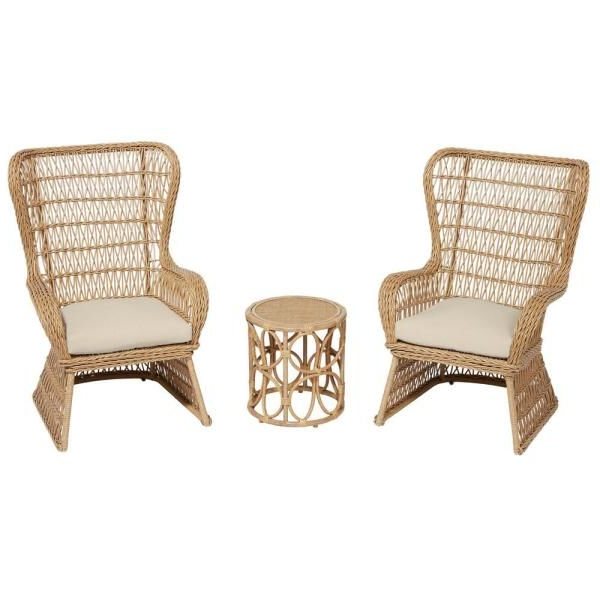 Stylewell Coco Breeze 3 Piece Brown Wicker Outdoor Seating With Well Known Lublin Wicker Tete A Tete Benches (View 10 of 20)