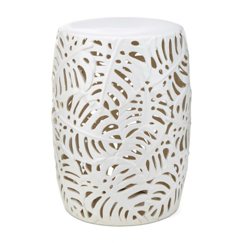 Svendsen Ceramic Garden Stools With Regard To Best And Newest Lachlan Palm Leaf Cutwork Pattern Ceramic Garden Stool (View 6 of 20)