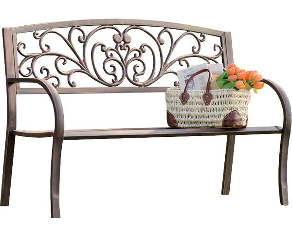 Trendy Blooming Iron Garden Bench Within Strasburg Blossoming Decorative Iron Garden Benches (View 4 of 20)