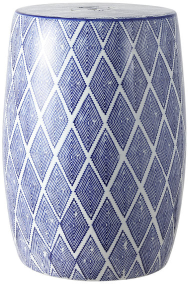 "Trendy Moroccan Diamonds 18"" Ceramic Drum Garden Stool, Blue And White Regarding Kujawa Ceramic Garden Stools (View 17 of 20)"