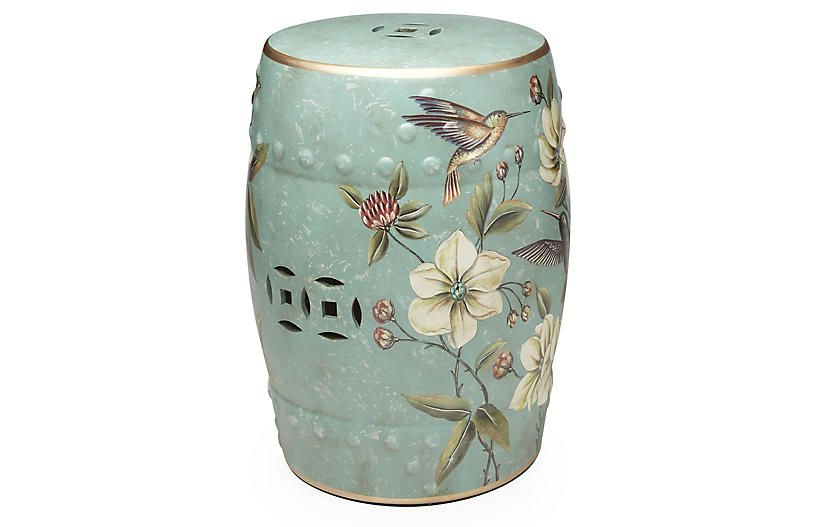 Trendy Palm Coast Floral Garden Stool – Vozeli Throughout Janke Floral Garden Stools (View 9 of 20)