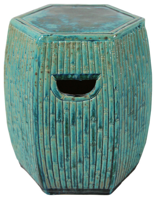Turquoise Ceramic Bamboo Garden Stool Intended For Recent Ceramic Garden Stools (View 17 of 20)