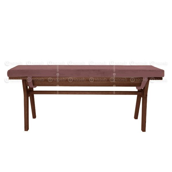 Walnut Solid Wood Garden Benches In 2020 Chloe Velvet Solid Wood Bench – Walnut Finish – More Colors And Sizes (View 7 of 20)